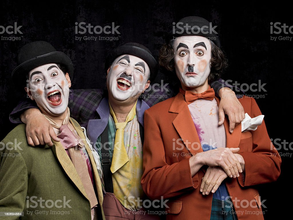 Three male mimes on the stage royalty-free stock photo