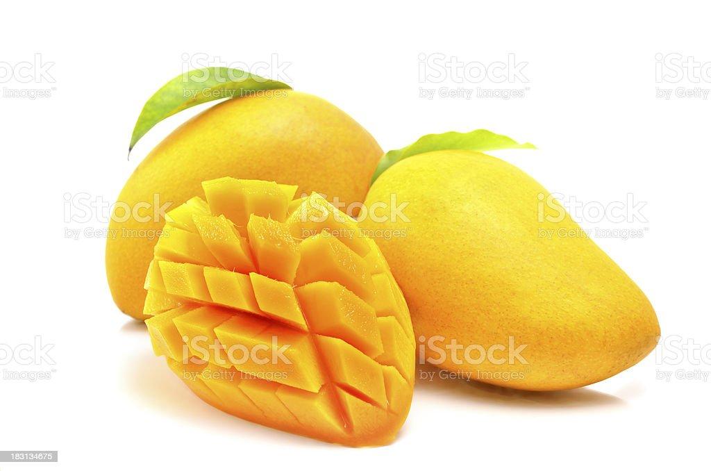 Three mangos on a white background stock photo
