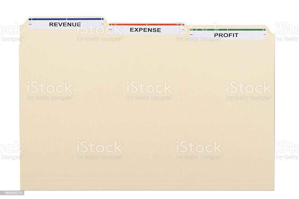Three Manila folders labelled REVENUE, EXPENSE, PROFIT on white background royalty-free stock photo
