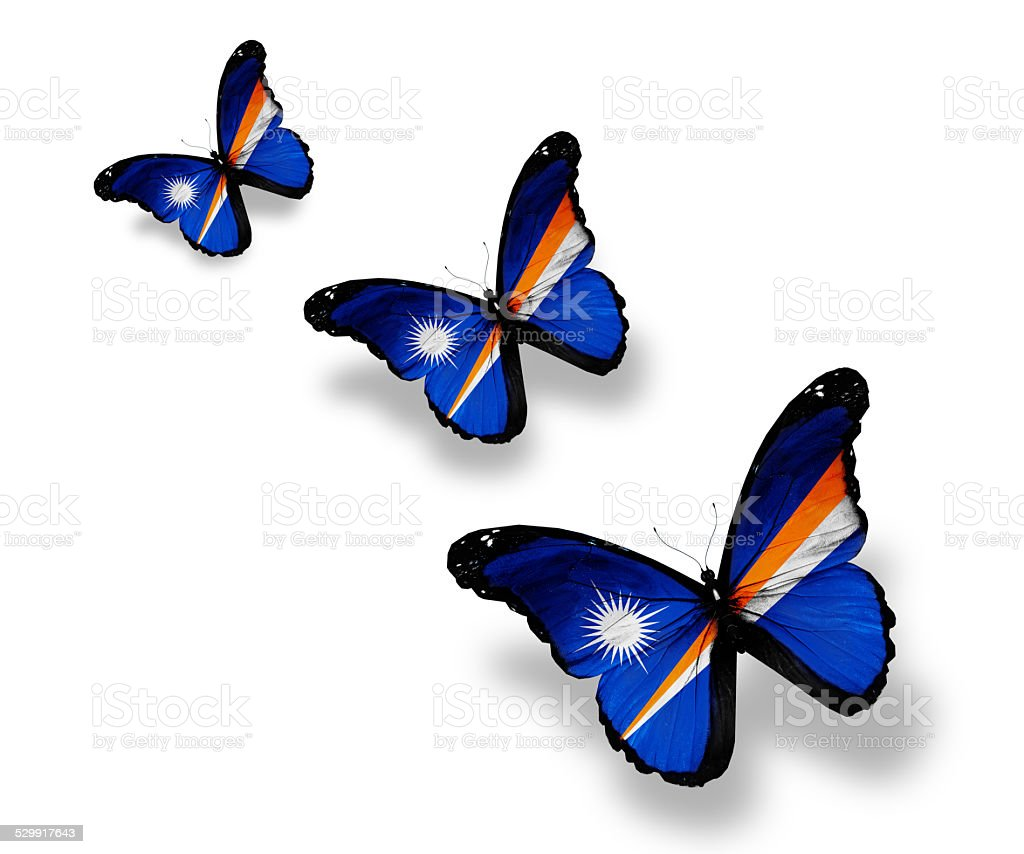 Three Marshall Islands flag butterflies, isolated on white stock photo