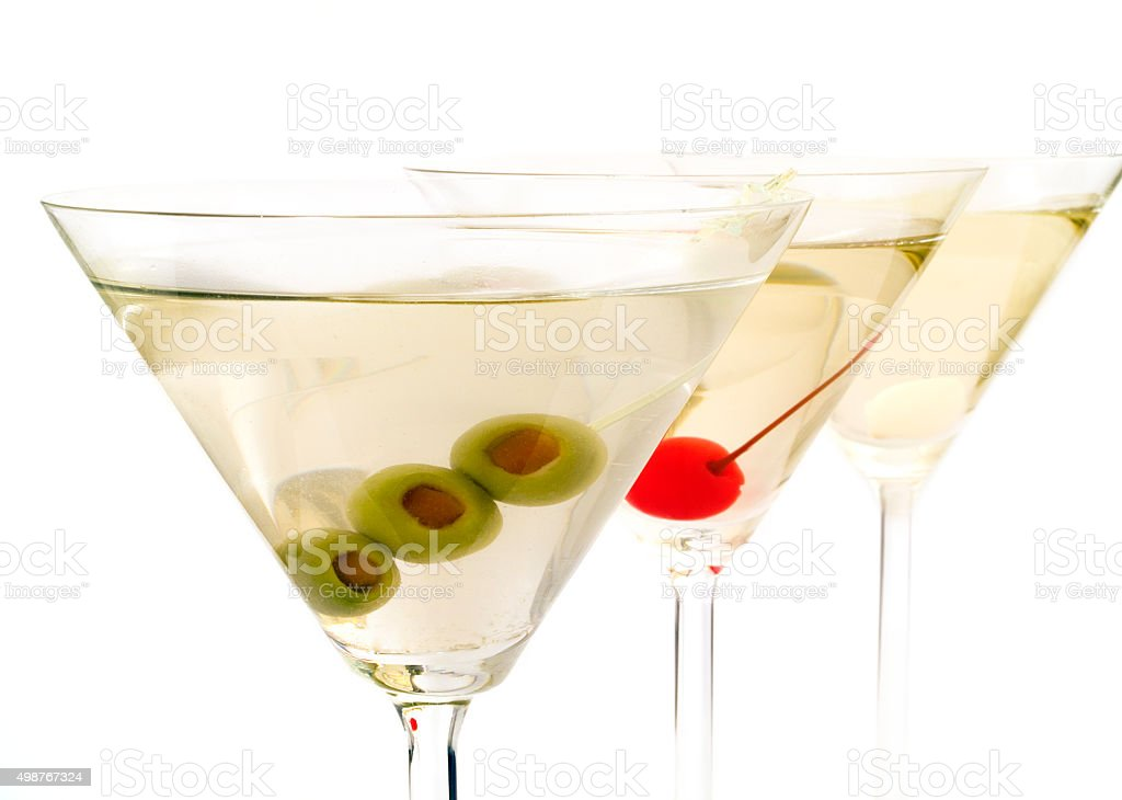 Three Martinis on white background stock photo