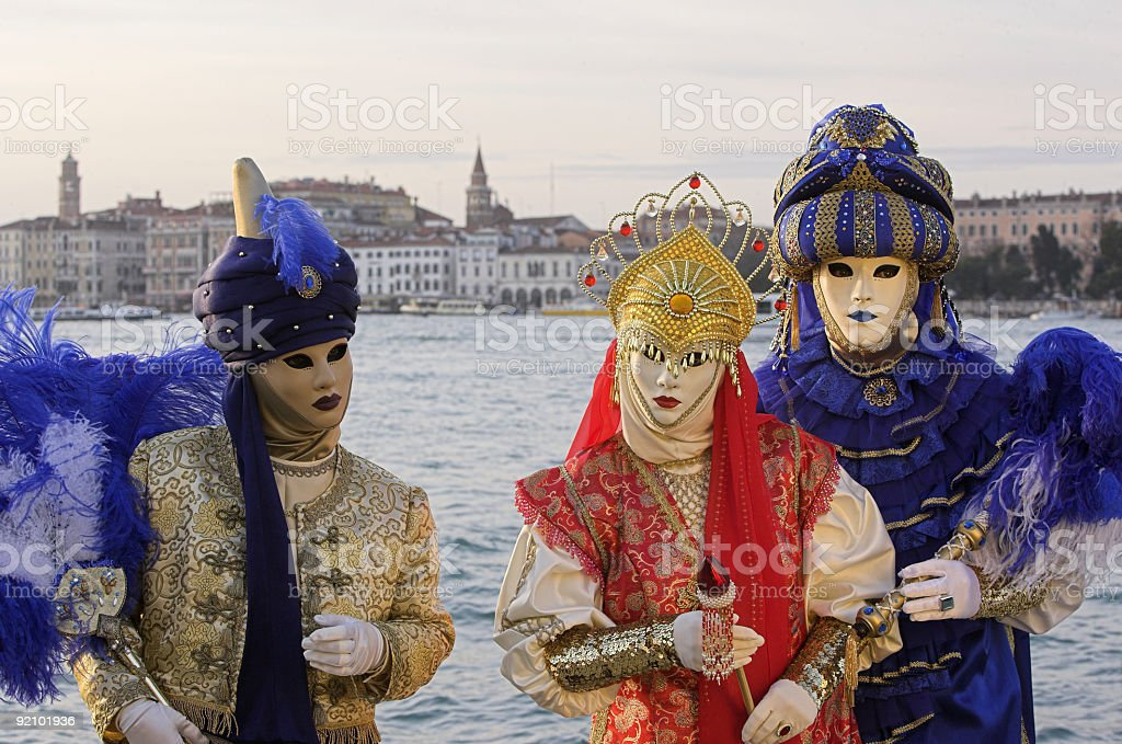 Three masks at Grand Canal in Venice (XXL) royalty-free stock photo