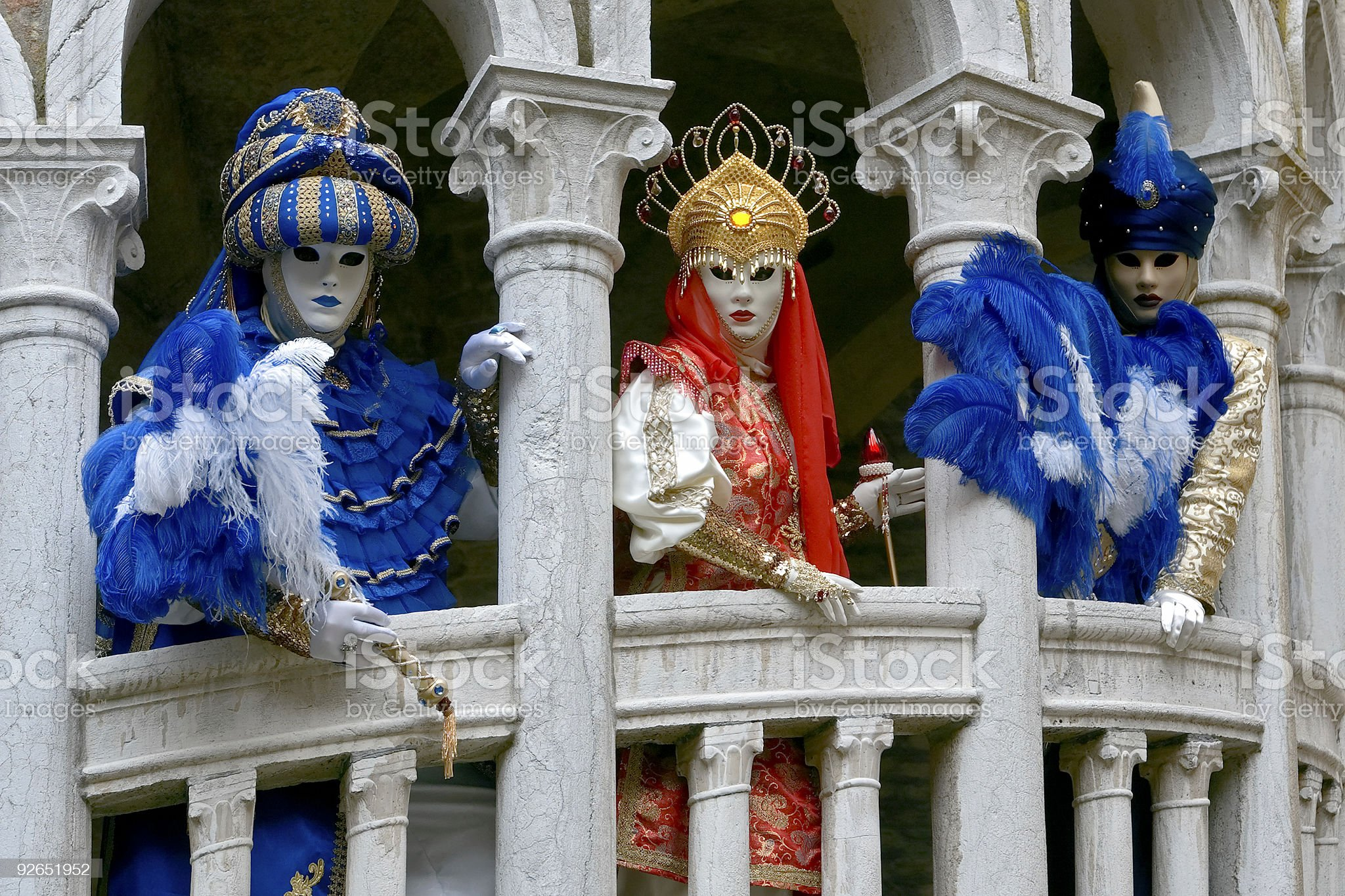 Three masks from the Middle East in Venice royalty-free stock photo
