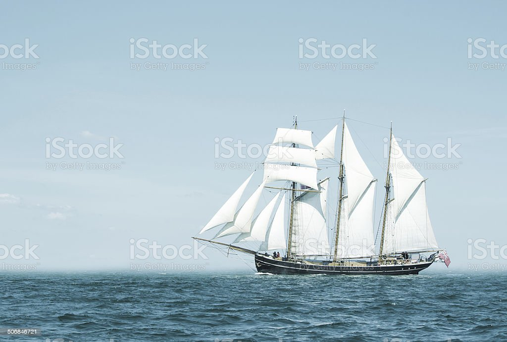 Three mast schooner stock photo
