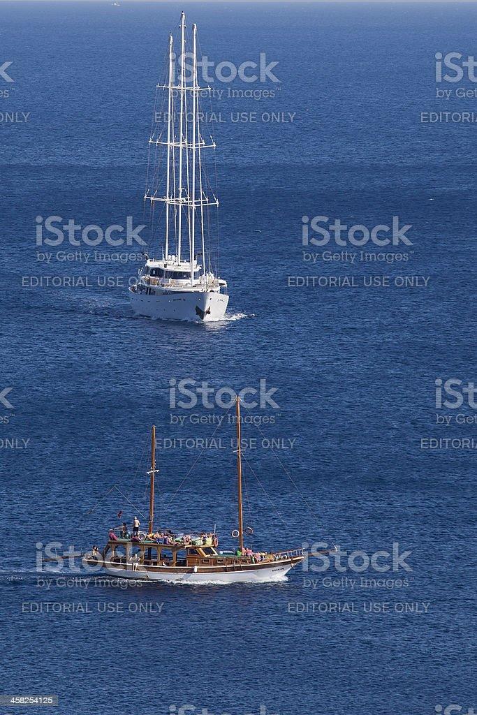 Three Masted Sail Cruiser and Excursion Ketch at Aegean Sea royalty-free stock photo