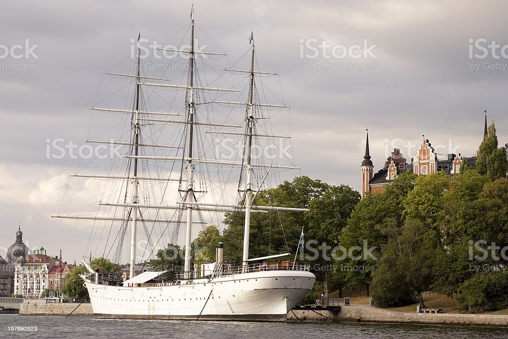 Three Masted Square Rigged Ship, Stockholm, Sweden royalty-free stock photo
