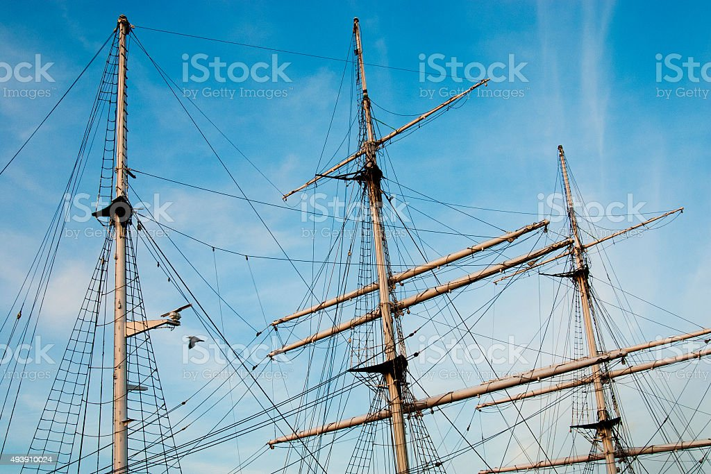 Three masts and rigging of barque Gorch Fock in Stralsund stock photo