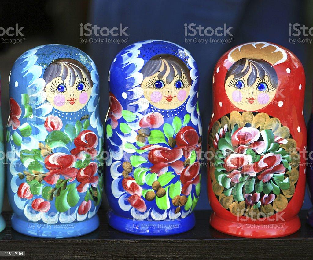 Three Matryoshkas Russian Nesting Dolls at a market royalty-free stock photo