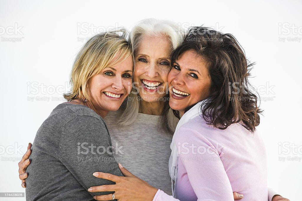 Three mature women are best friends for life stock photo