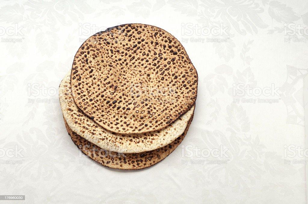 Three matzas for the seder royalty-free stock photo