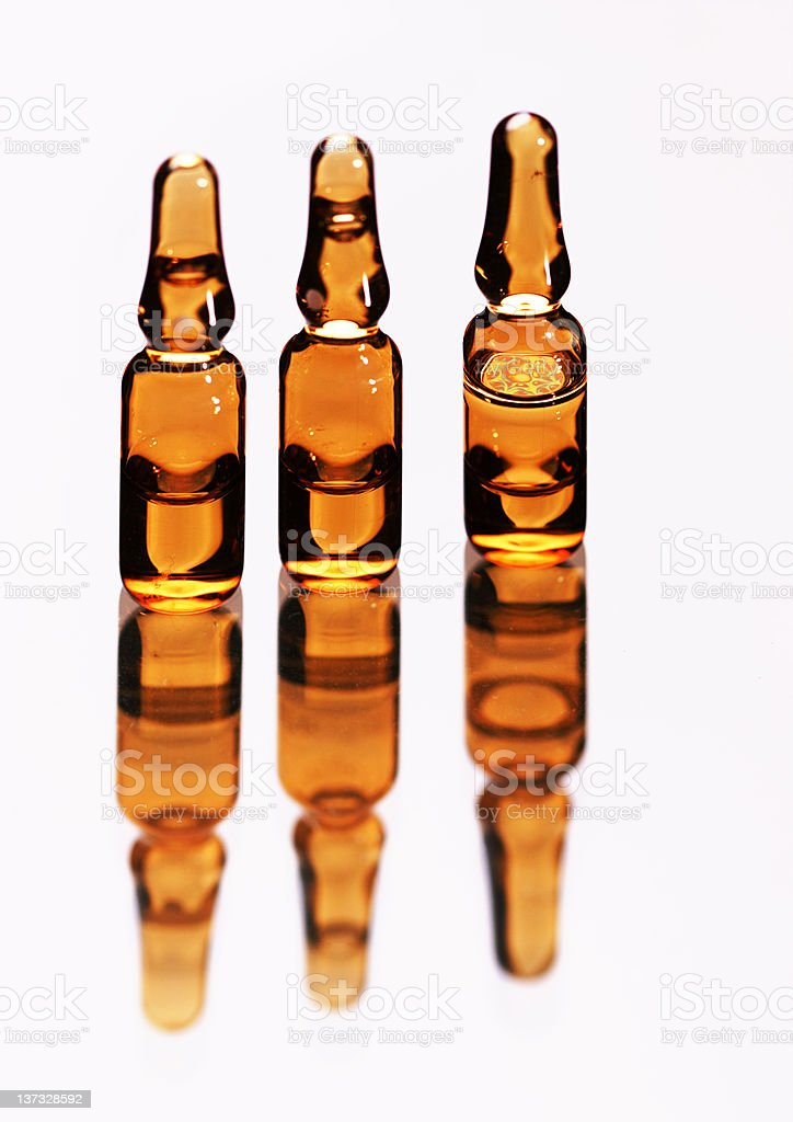 Three medical ampules stock photo