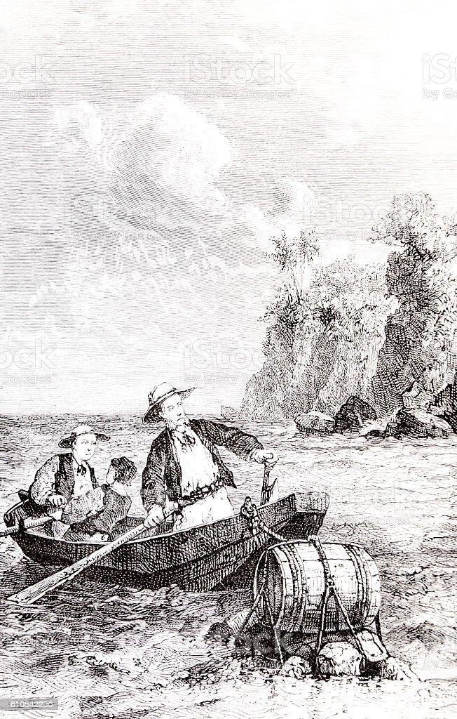 Three men a boat and barrel Hand drawn illustration stock photo
