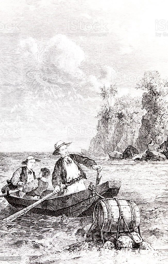 Three men a boat and barrel Hand drawn illustration stock photo