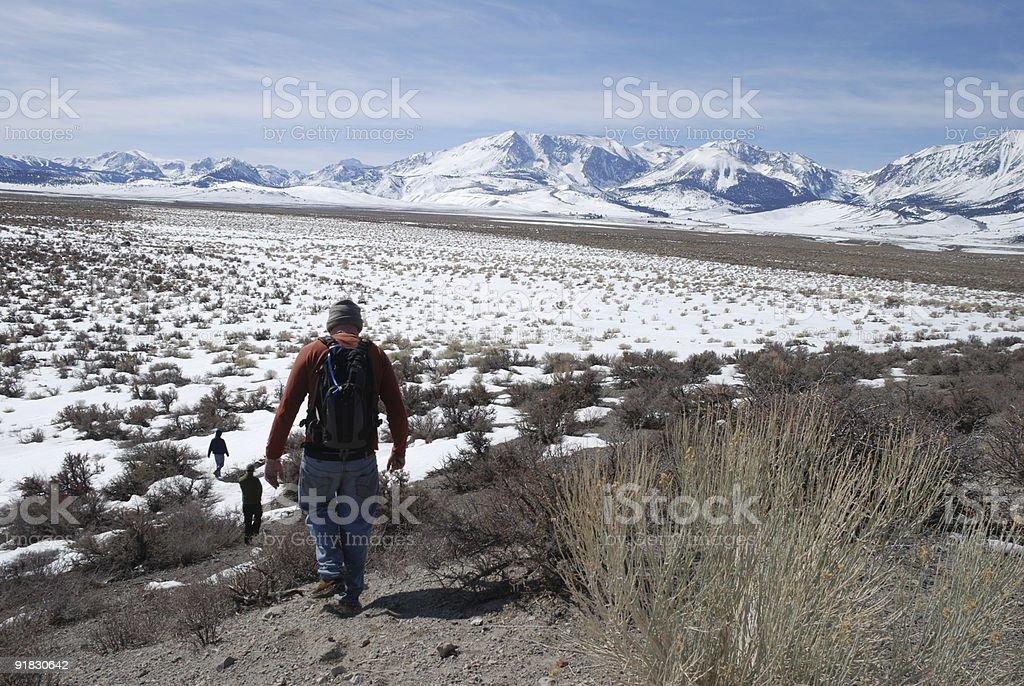 Three Men Hiking royalty-free stock photo
