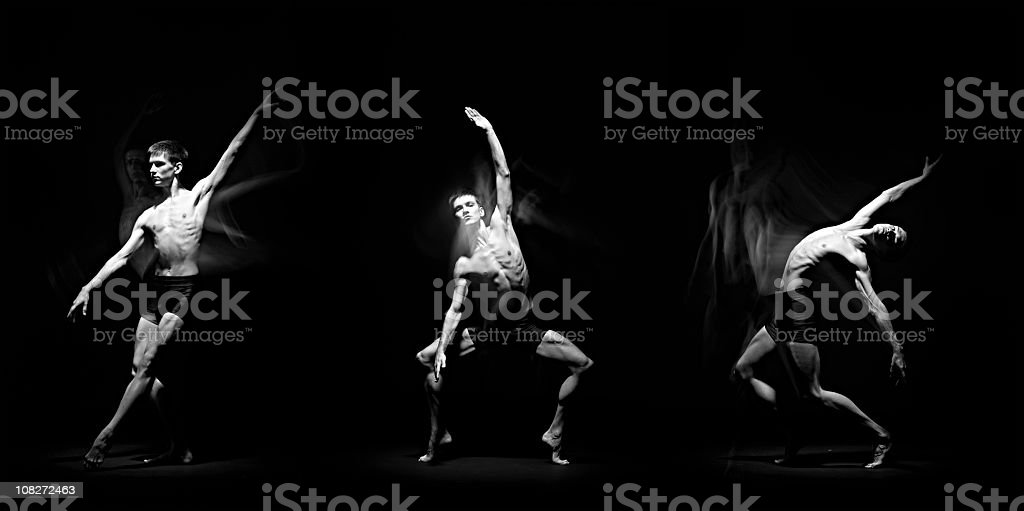 Three men showing different ballet moves stock photo