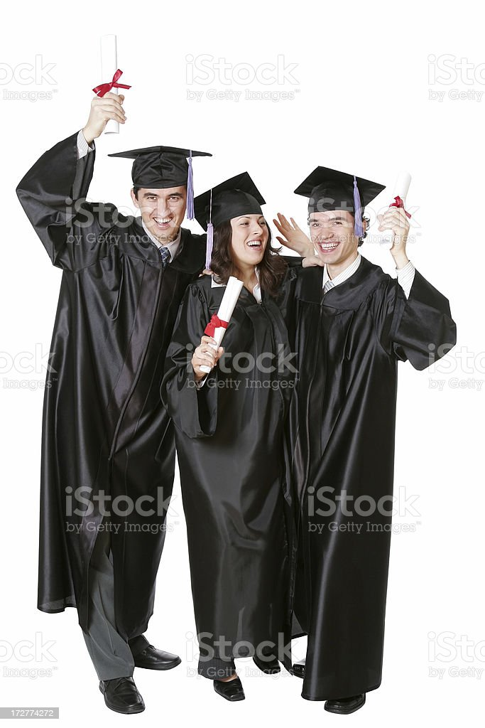Three Merry Graduates royalty-free stock photo