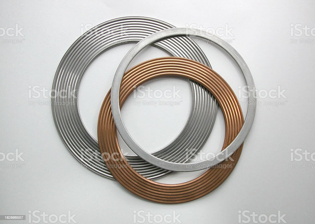 Three metal gaskets stock photo