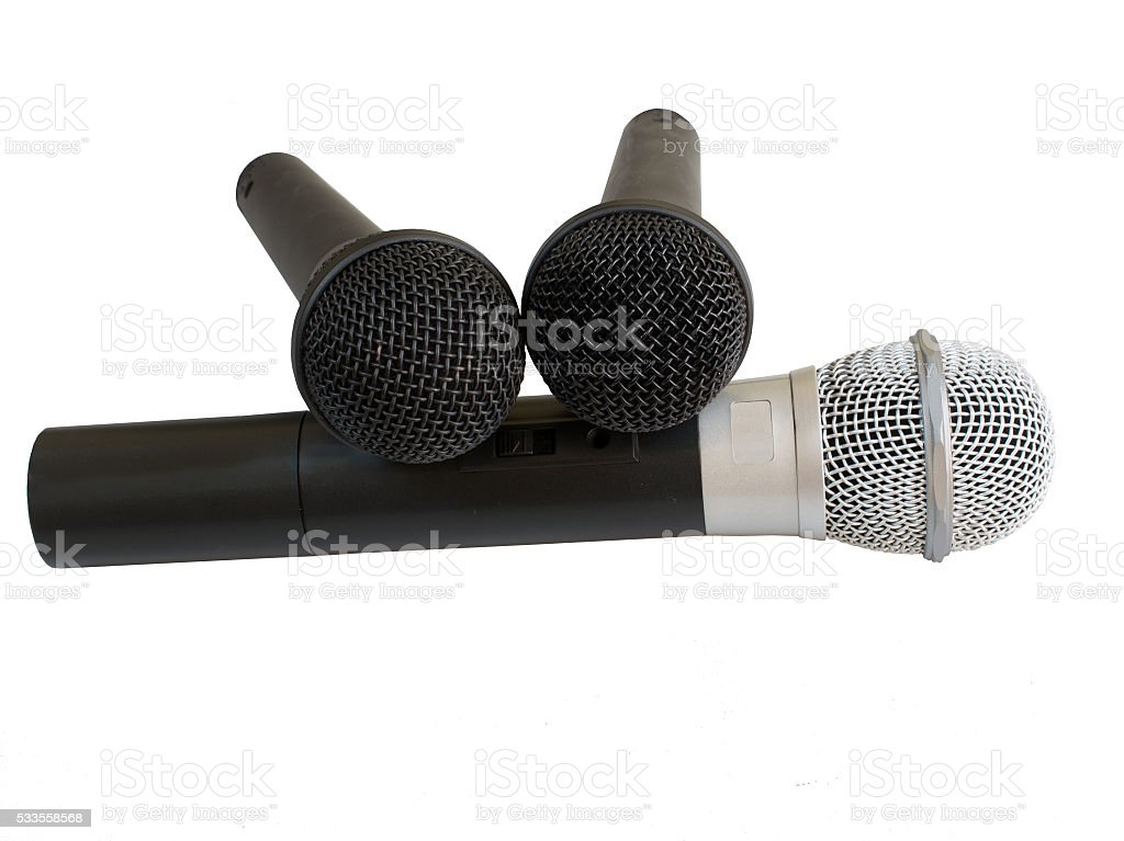 Three microphone on white background stock photo