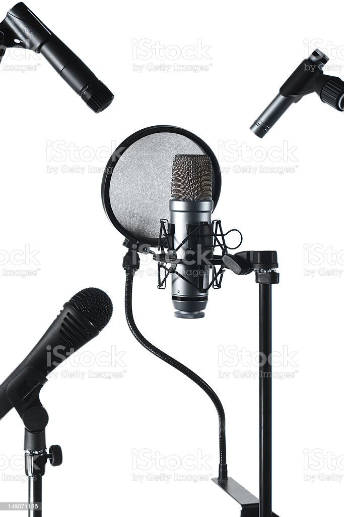 Three microphone stock photo