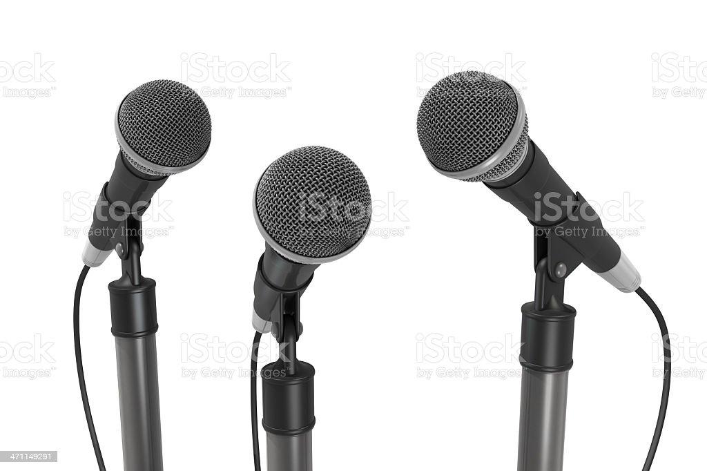 3 つのマイクロフォン ロイヤリティフリーストックフォト