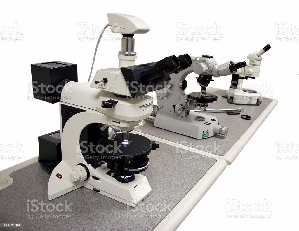 Three microscopes royalty-free stock photo