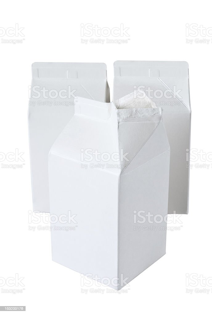 Three Milk Boxes per half liter on white stock photo
