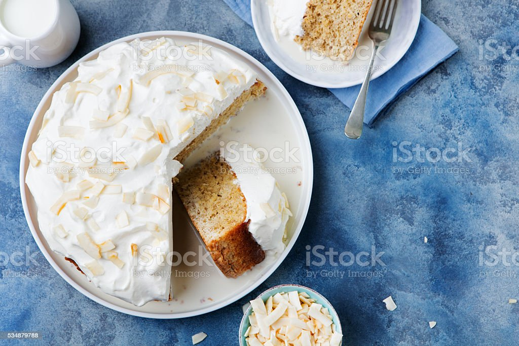 Three milk cake, tres leches cake with coconut stock photo