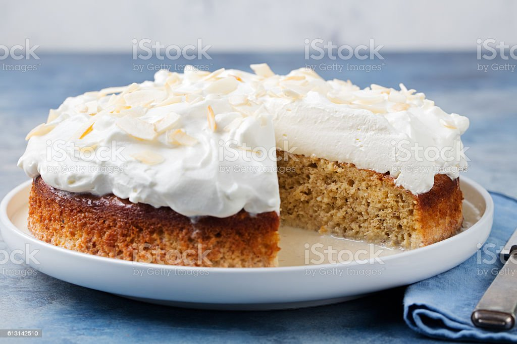Three milk cake, tres leches cake with coconut. stock photo