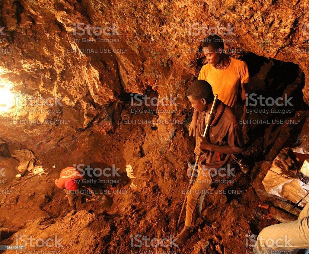 Three Miners in an Underground Mine, Africa stock photo