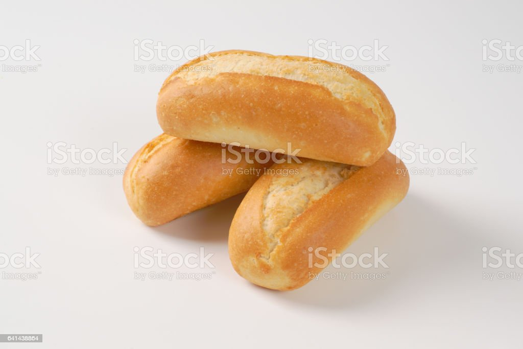 three mini baguettes stock photo