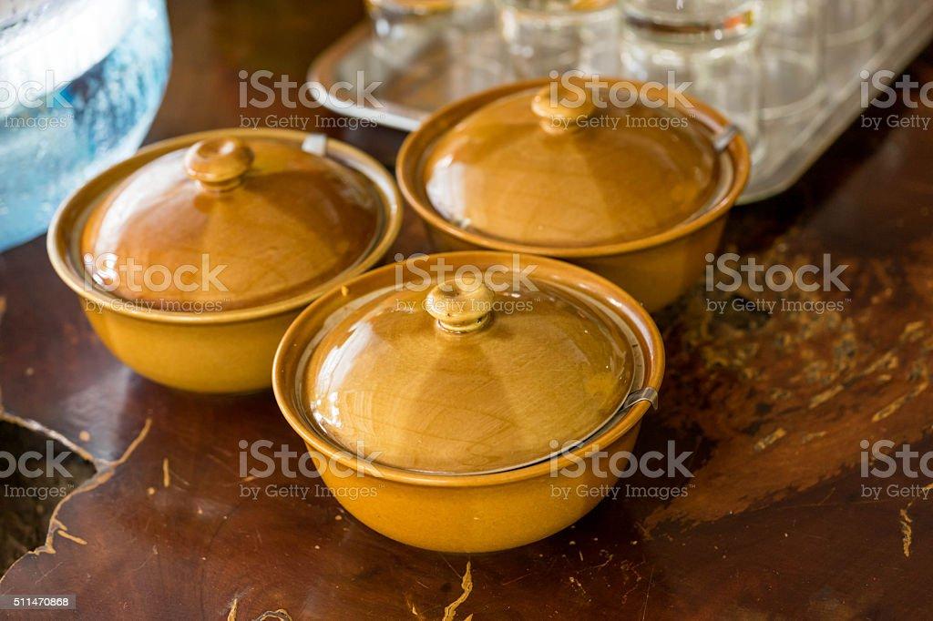 three mini bolw for dipping thai food stock photo