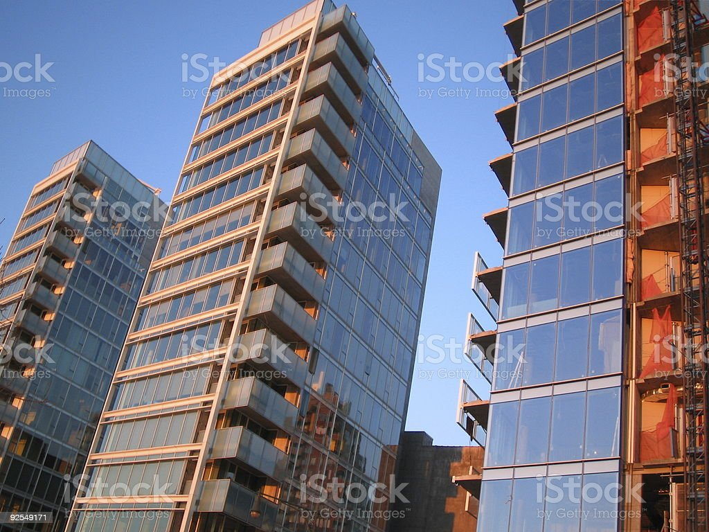 Three mirrored buildings in a row. royalty-free stock photo