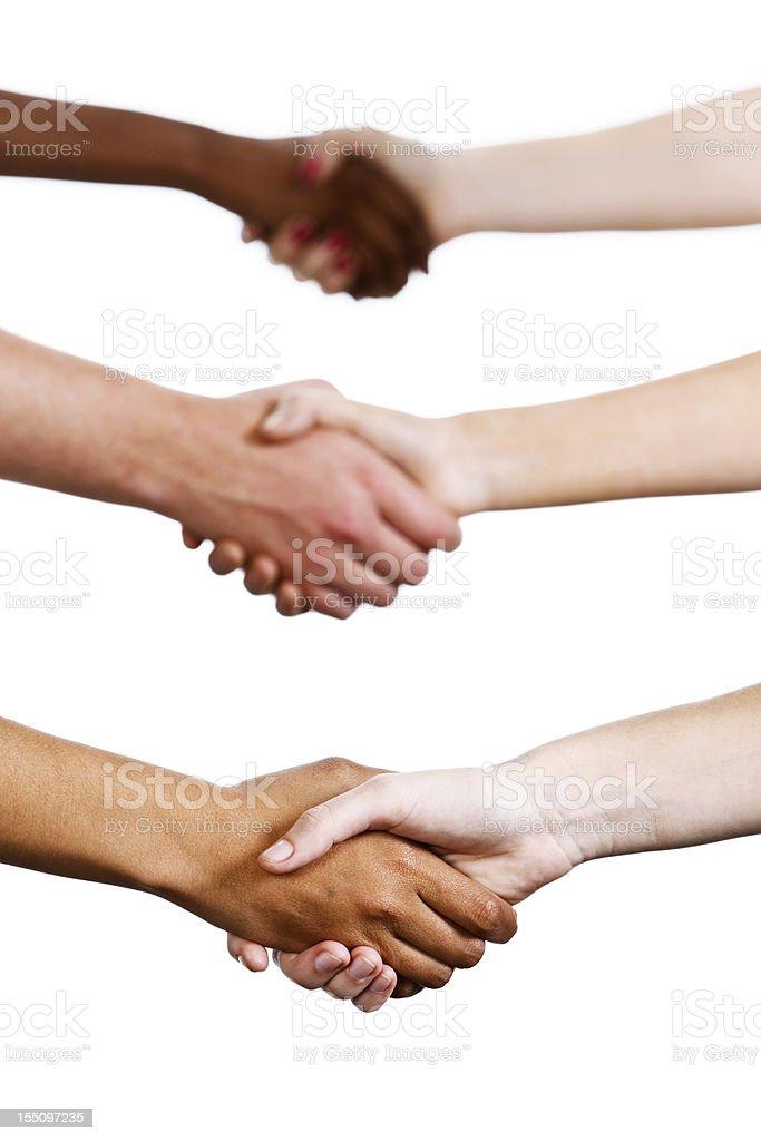 Three mixed handshakes isolated on white royalty-free stock photo