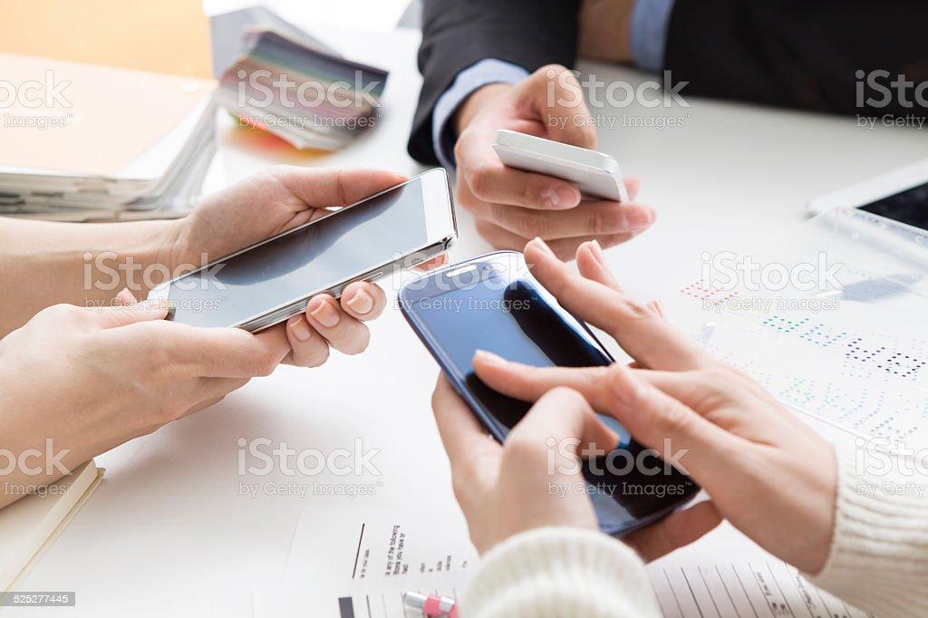 Three mobile phone stock photo