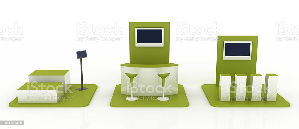 Three modules trade stand (front view) stock photo
