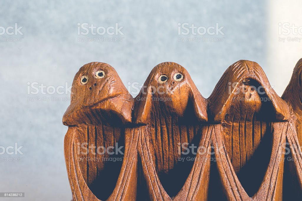 Three monkeys hear, see and speak no evil stock photo
