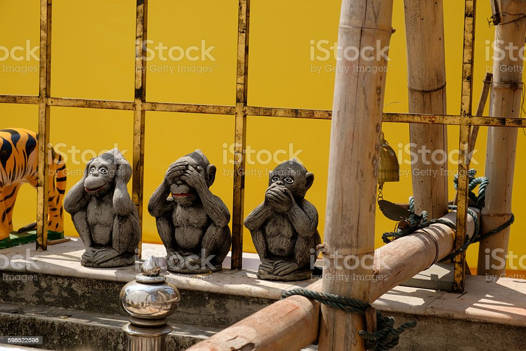 Three monkeys wise in yellow black ground stock photo