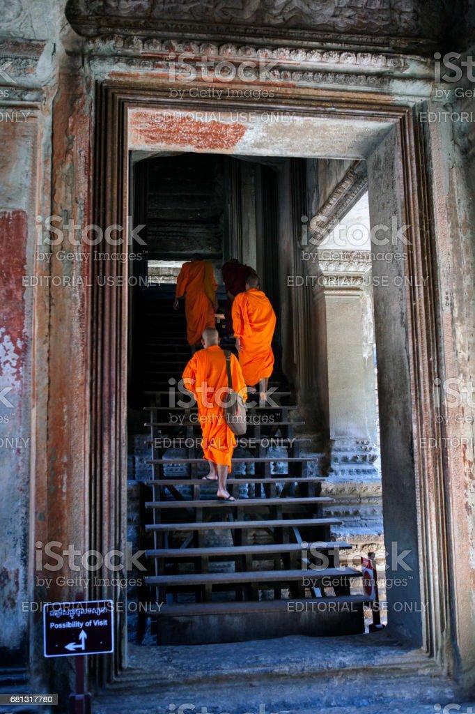 Three Monks At Angkor Wat stock photo