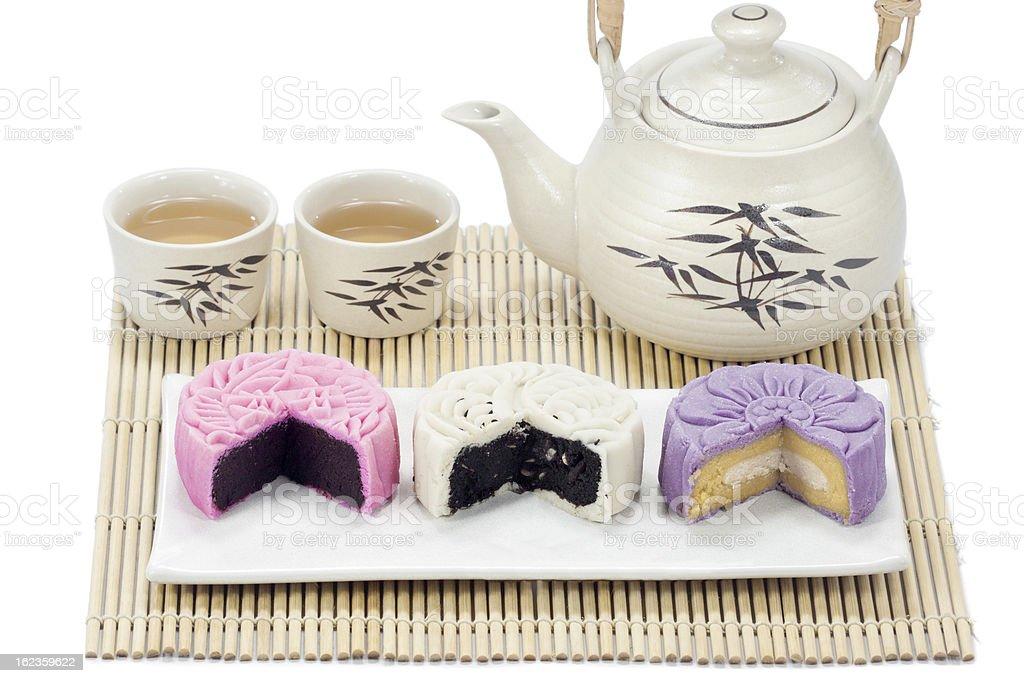 Three mooncake with tea. stock photo