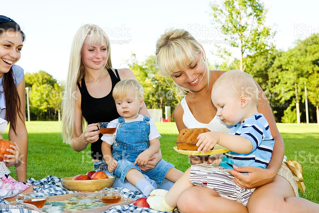 Three mother with kids royalty-free stock photo