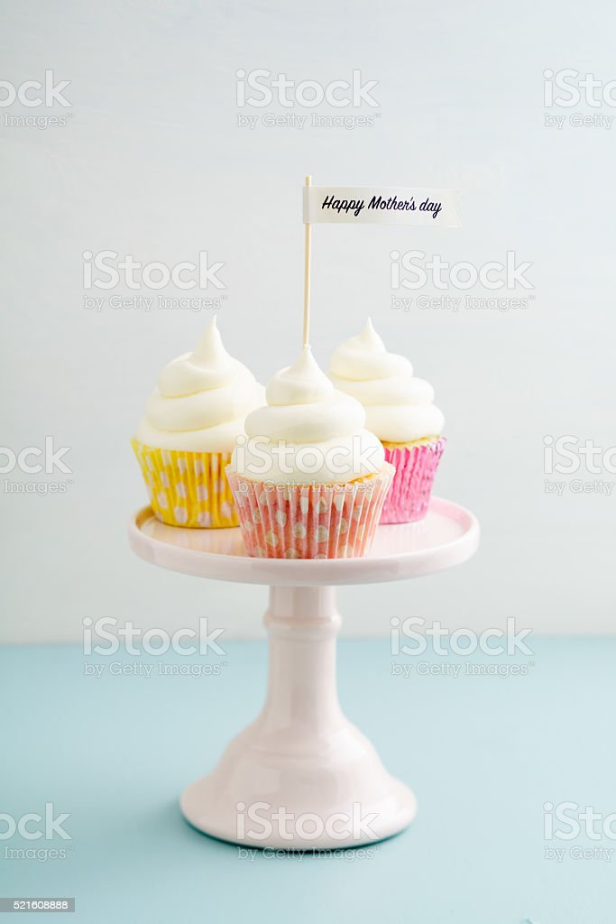Three mothers day cupcakes stock photo