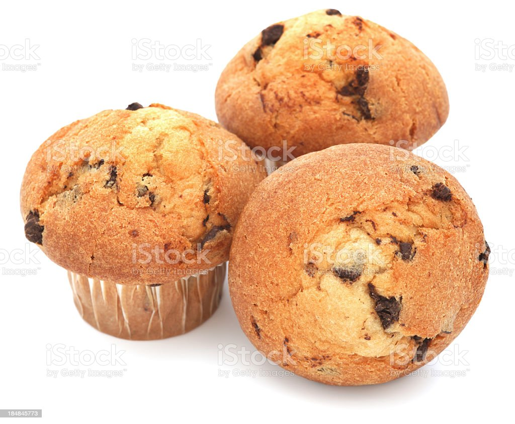 Three muffins on a white background stock photo