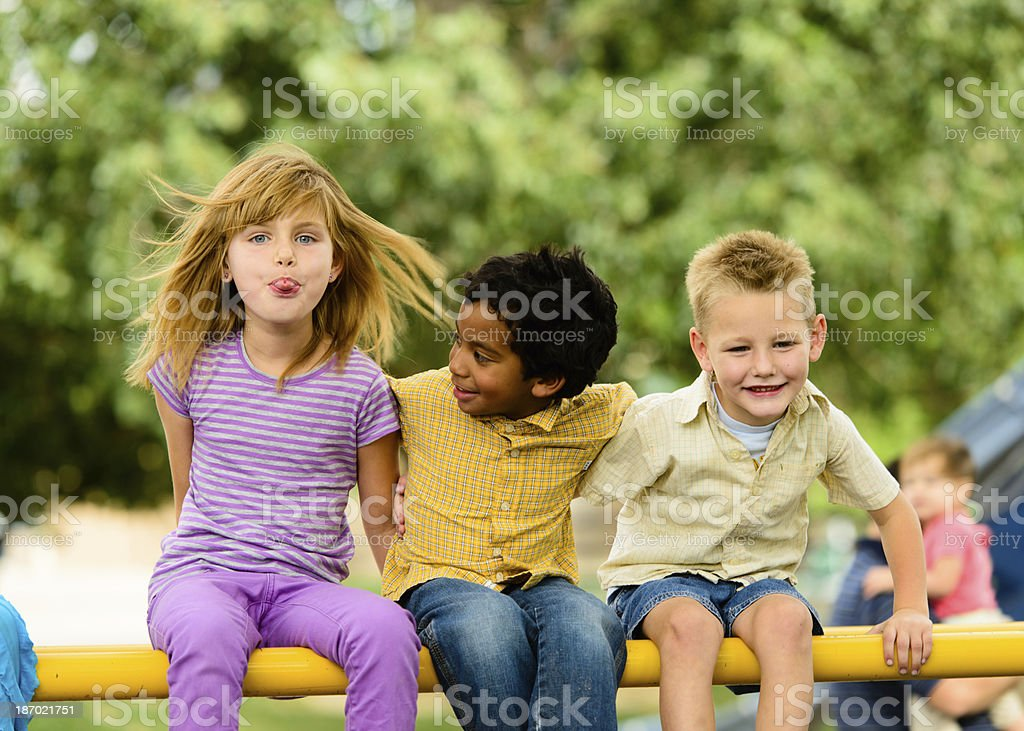 Three Multi Ethnic Children Playing royalty-free stock photo