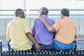 Three multi-ethnic senior men sitting on bench