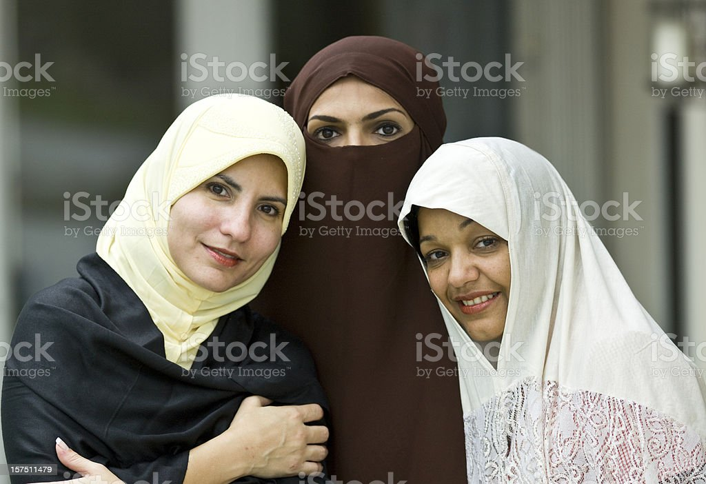 Three muslim women stock photo