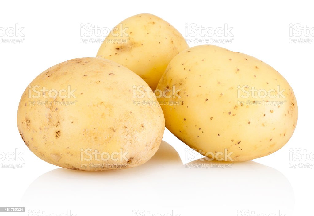 Three new potato isolated on white background stock photo