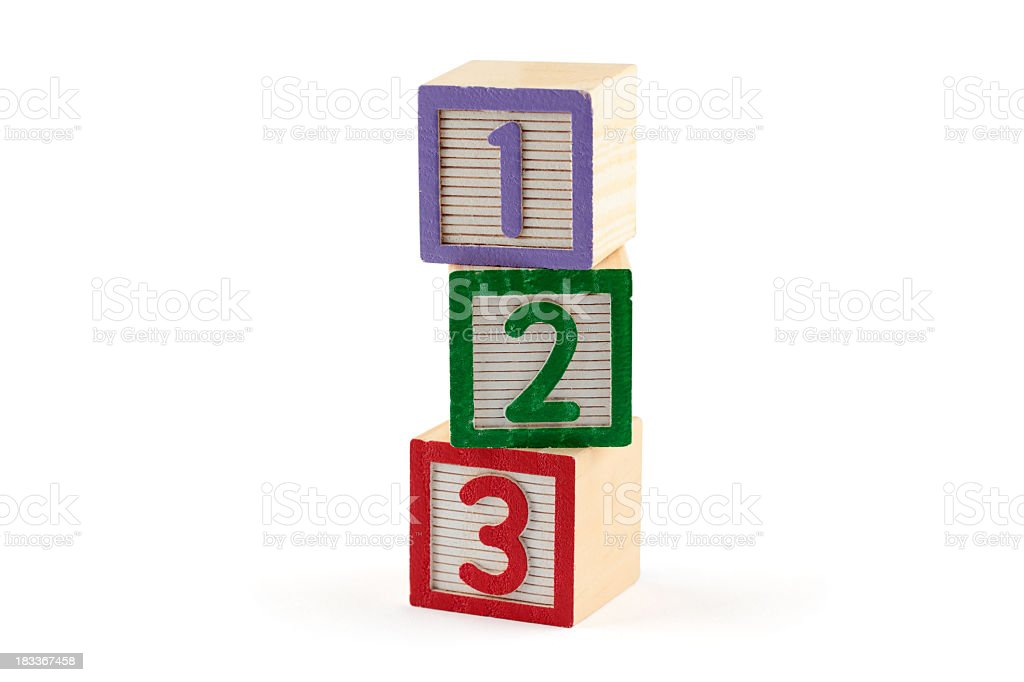 Three numbered building blocks on white background royalty-free stock photo
