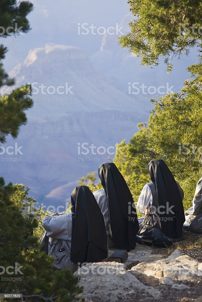 Three Nuns worship outdoors royalty-free stock photo