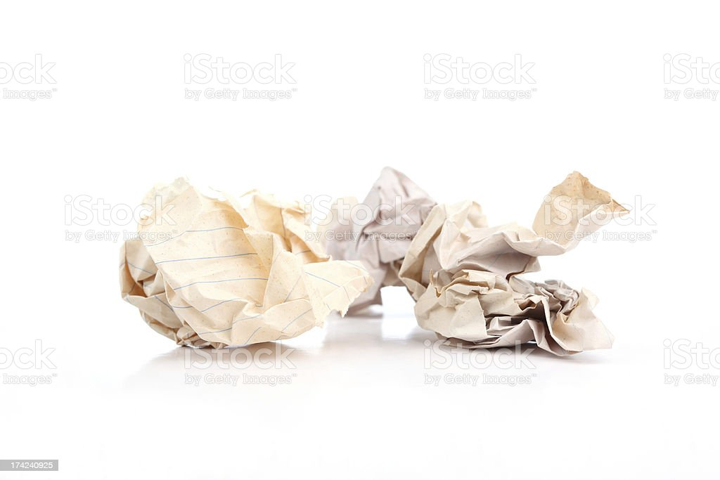 Three of crumpled old paper balls on white background royalty-free stock photo