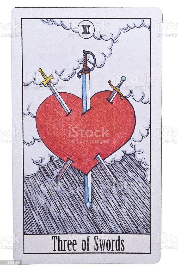 Three of Swords tarot card on Isolate Background stock photo